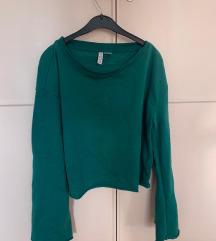 Sweatshirt duksa majica emerald zelena crop top