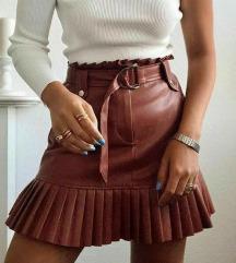 Zara mini kožna plisirana suknja