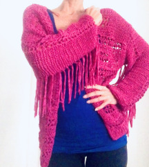 Boho knit kardigan s resama