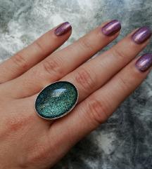 Prsten ''Teal glitter'' (ručni rad)