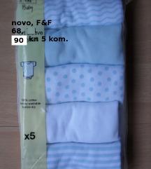 Novi F&F body, kratki rukav, 5 kom., 3-6 mj. 68