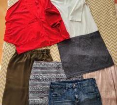 Lot odjeće (suknje, haljina, kardigan, traperice)
