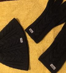 Roeckl kapa i rukavice  tamno sive posebne nove