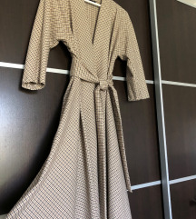 ZARA midi karirana haljina s V izrezom