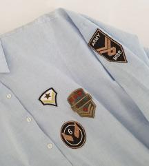 ZARA plava košulja s prišivkama