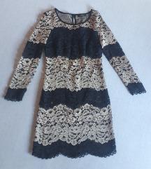 Čipkasta crno-nude Twin set haljina
