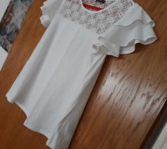 Bijela  pamucna majica s volanima