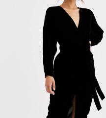 ASOS DESIGN crna baršunasta haljina