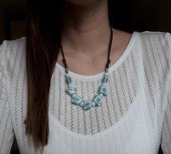 Podesiva svijetlo plava ogrlica-ručni rad