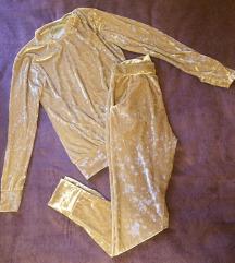 Zlatna/krem baršunasta trenirka