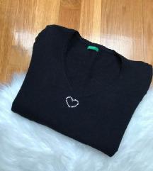 BENETTON pulover sa cirkonima💎/vuna