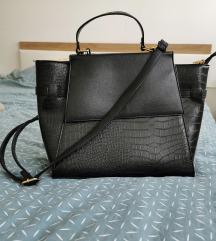 Crna kroko kožna torba