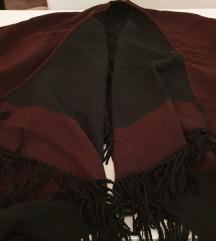 Pončo: boja crna-bordo, vel. UNIV., jednom nošeno