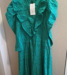Zara haljina s ažurom nova zelena L