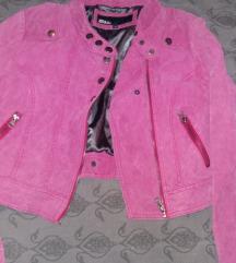 Pink brusena kozna jakna S
