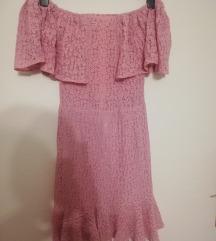 Off shoulder roza haljina