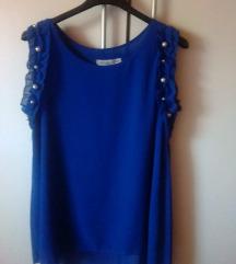 Kraljevsko plava bluza sa biserima