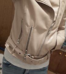 Krem roza kožna jakna xs
