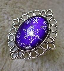 Prsten ''Purple snowflakes'' (ručni rad)