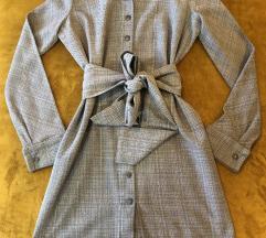 Karirana haljina s pojasom