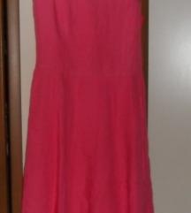 svjetlo ružičasta lanena haljina