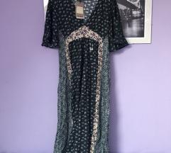 Pull & bear maxi haljina zelena paisley S 36
