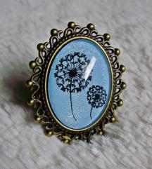 Prsten ''Blue dandelion'' (ručni rad)