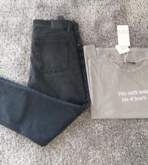Lot traperice br.44 i majica L Zara NOVO