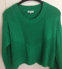 Zeleni pleteni ženski pulover