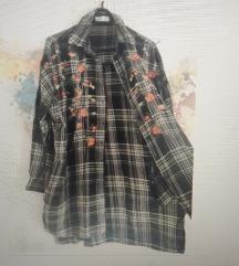 Zara embroidered shirt/ dress /košulja xs