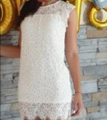 Zara bijela mini haljina s čipkom S