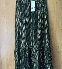 Nova Zara duga crno-zlatna suknja s etiketom