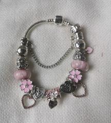 Pandora narukvica, roza privjesci, nova!