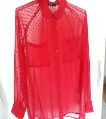 Bershka prozirna crvena košulja na točkice