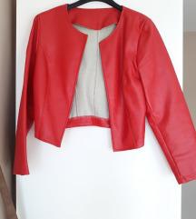 Crvena kratka kožna jakna