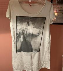 H&M oversized bijela majica tshirt print