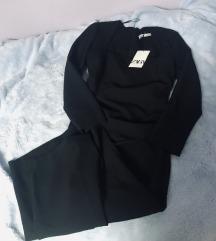 Zara crna uska bodycon haljina L midi L