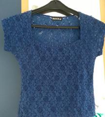 Majica royal blue čipka crop top vel. S
