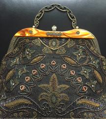 Vintage efektna torba sa kristalima i perlama