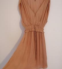 Lagana midi ljetna haljina, prljavo roza