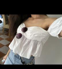 Zara bijeli top off shoulder