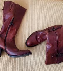 Ženske smeđe kožne čizme/kaubojke do koljena