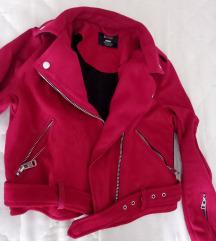 Bershka crvena kožna jaknica