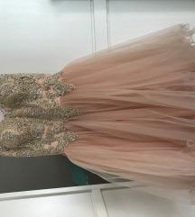 Formalna roza haljina s kristalima