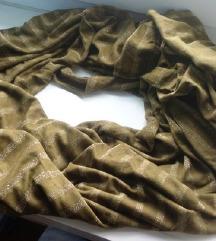 Maslinastozelena marama sa zlatnim crtama