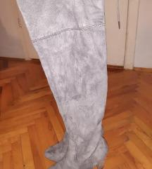 Sive čizme iznad koljena, broj 37