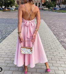 Zara maxi haljina, viskoza i lan, iza mašna XL-3XL