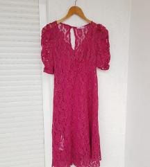 MANGO roza čipkana haljina kratkih rukava