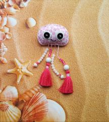 unikatni broš - srcasta roza meduzica sa resicama
