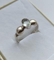 Rez.Vintage prsten sa akvamarinom, srebro 925